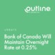 Bank of Canada Will Maintain Overnight Rate at 0.25%